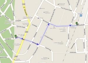 Fußweg vom Bahnhof zur Kirche